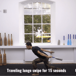 grip shoulder and leg strength with Indian clubs
