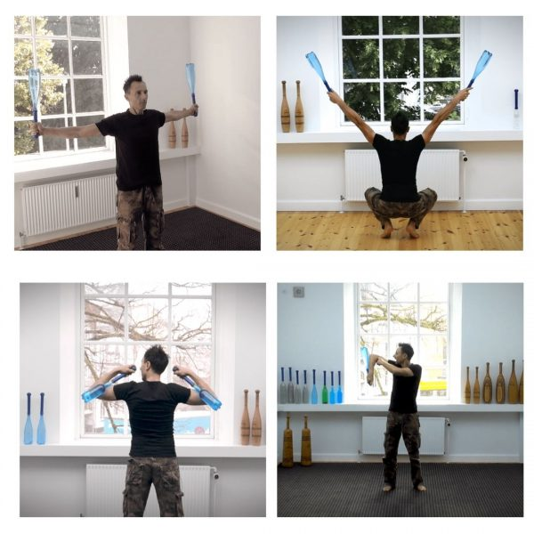 brain gym exercises with indian clubs